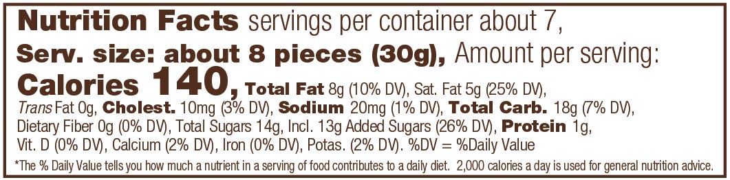 Milk Chocolate English Toffee Caramels Nutrition Facts