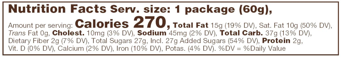 Dark Chocolate Coconut Milk Caramels Nutrition Facts