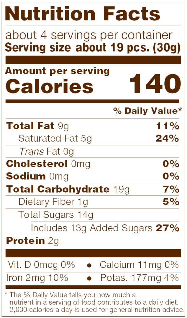 Dark Chocolate Espresso Beans Nutrition Facts