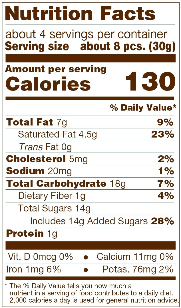 Dark Chocolate Sea Salt Caramels Nutrition Facts