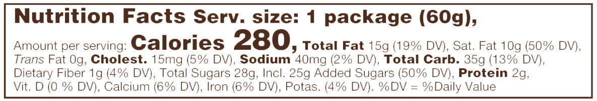 Milk Chocolate English Toffee Caramels Nutritional Facts