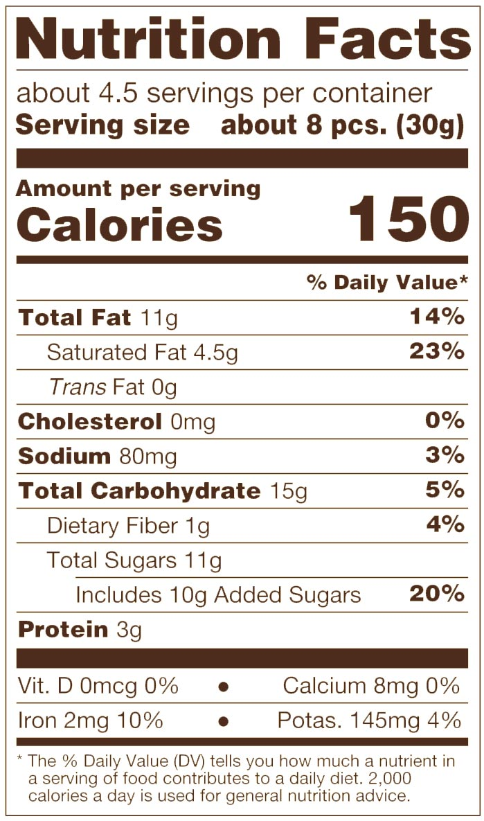 Dark Chocolate Sea Salt Cashews Nutrition Facts