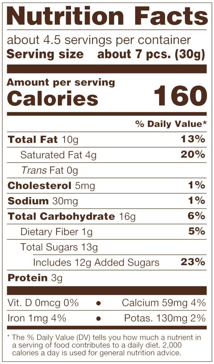 Milk Chocolate Toffee Almonds Nutrition Facts
