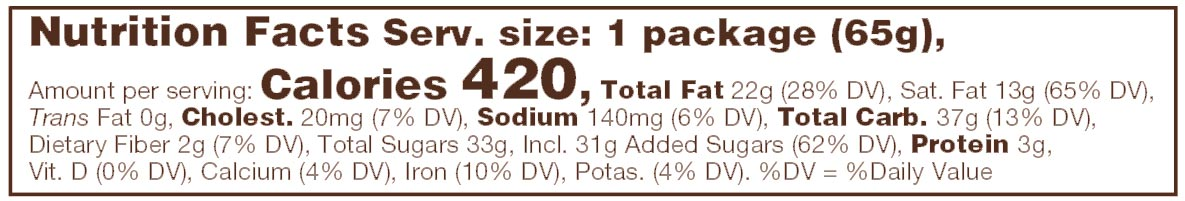 Triple Chocolate Toffee Nutritional Facts