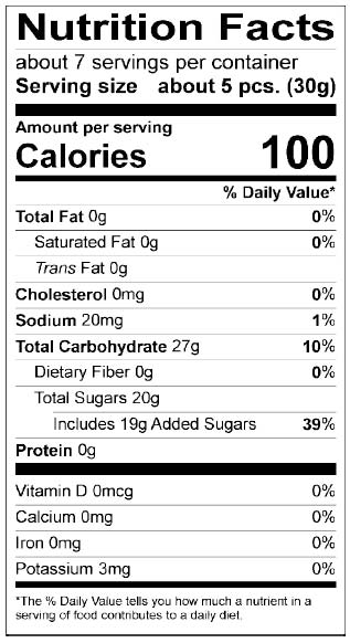Nutrition Facts Easter Sour Chicks and Bunnies