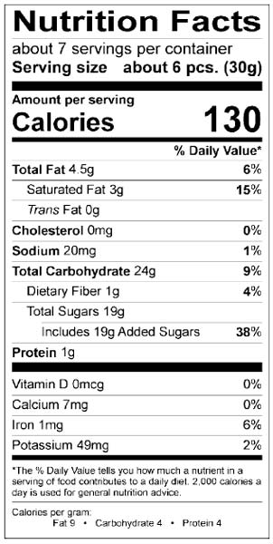 Nutrition Facts Easter Caramel Robin Eggs