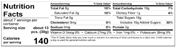 Nutrition Facts Easter Spring Almond Eggs